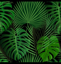 tropical seamless pattern with exotic palm leaves vector image vector image