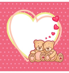 valentine teddy bears frame vector image vector image