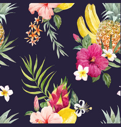 watercolor tropical pattern vector image