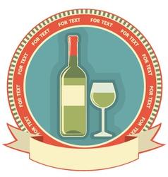 White wine bottle label symbol background vector