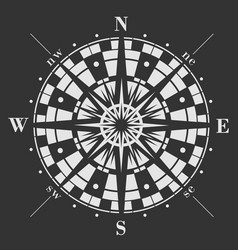 wind rose on black background vector image vector image