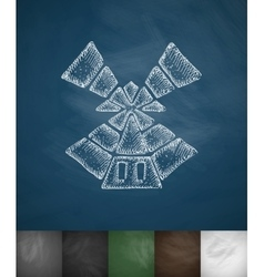 windmill icon Hand drawn vector image