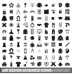 100 design guidance icons set simple style vector