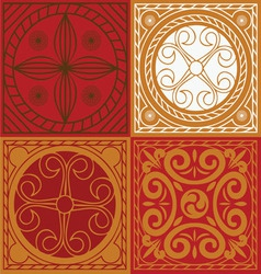 Red scuares-indian ornament set vector