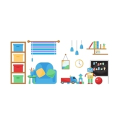Boy baby room set vector