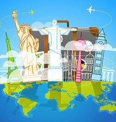 Vacation travelling composition with the bag vector