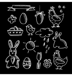 Set of spring easter chalk doodle sketches icons vector
