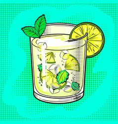 Mojito cocktail pop art vector