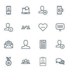 Set of 16 social network icons includes business vector