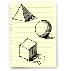 Sketch drawing of geometry on lined paper vector