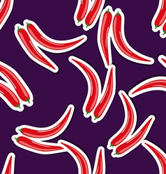 Hot pepper pattern seamless texture with ripe red vector
