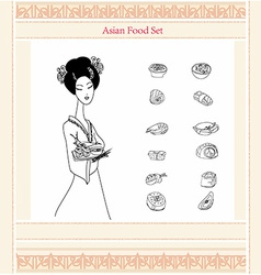 Asaian girl and sushi menu doodle set vector