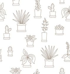 Seamless with flowers in pots vector