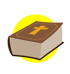 Holy bible thick old book with a cross old and new vector