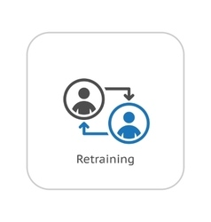 Retraining icon business concept flat design vector