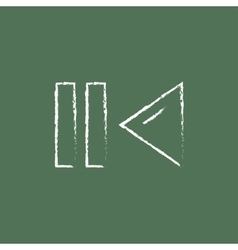 Pause and playback button icon drawn in chalk vector