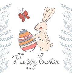 Easter card with cute bunny and easter egg vector