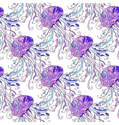 Jellyfish seamless pattern vector image