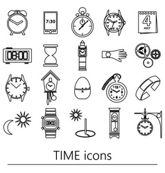 Time theme modern simple outline icons set eps10 vector