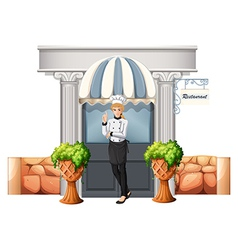 A chef in front of the restaurant vector image