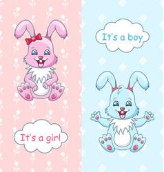Baby shower congratulation card with rabbits boy vector