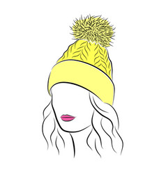 beautiful young woman in yellow knitted hat with vector image vector image