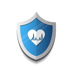 cardiology protection heart shield icon blue vector image vector image