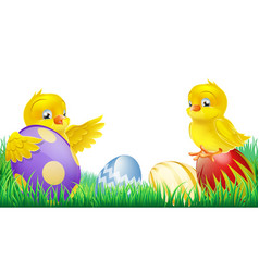 Cute yellow chicks and easter eggs vector