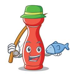 Fishing pepper mill character cartoon vector