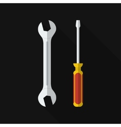 Flat screwdriver wrench with long shadow vector
