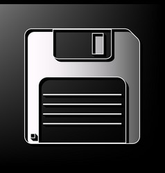 Floppy disk sign gray 3d printed icon on vector