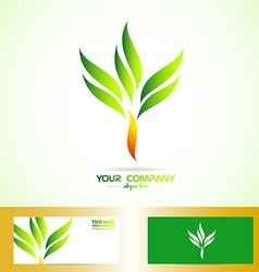 Green orange tree shape logo vector