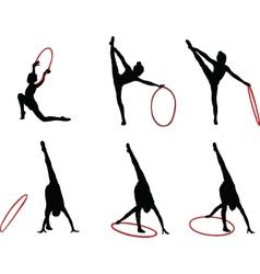 gymnastics girls - vector image vector image