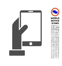 hand holds smartphone icon with set vector image