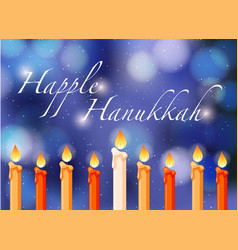 Happy hannukkah theme with candlelights vector
