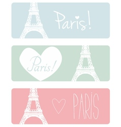 Love Paris pastel banner set with Eiffel Tower vector image vector image