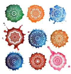 Mandala card watercolor vector