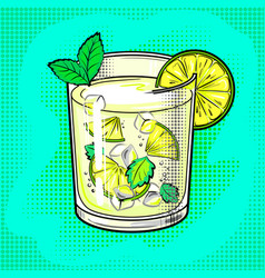 mojito cocktail pop art vector image vector image