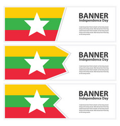 Myanmar flag banners collection independence day vector