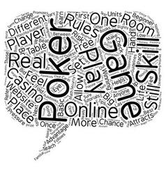 Online poker game text background wordcloud vector