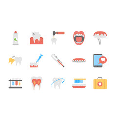 Pack of flat dental icons vector