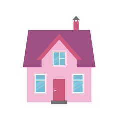 pink house icon isolated on white background vector image vector image