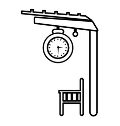 platform railway icon outline style vector image