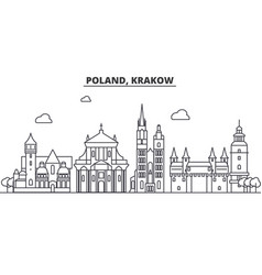Poland krakow architecture line skyline vector