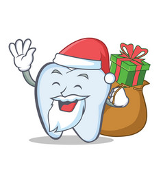santa tooth character cartoon style with gift vector image vector image