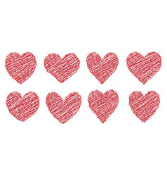set heart drawn painted with a brush hand vector image vector image
