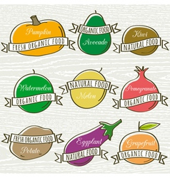 Set of organic vegetable and fruit vector