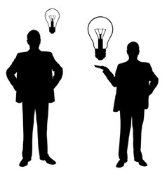 silhouettes of men with light bulbs vector image vector image