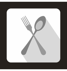 Spoon and fork icon in flat style vector image