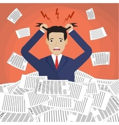 Stressed cartoon businessman in pile of papers vector
